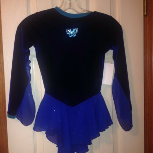Blue butterfly dress wsheer skirt child size 810