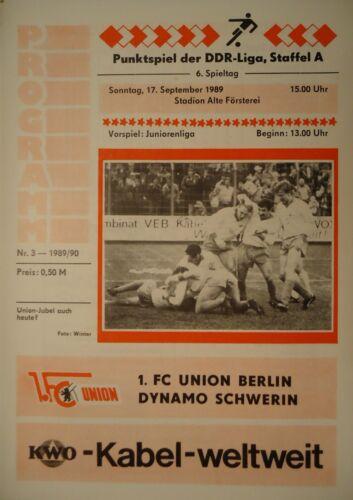 Programm 1989//90 Union Berlin Dynamo Schwerin