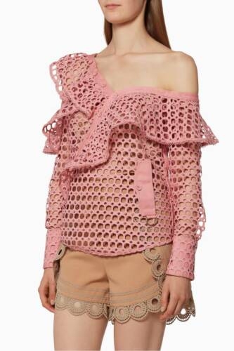 $410 NEW Self Portrait Carnation Pink Lace Frill Shirt Top Blouse Eyelet 4 6