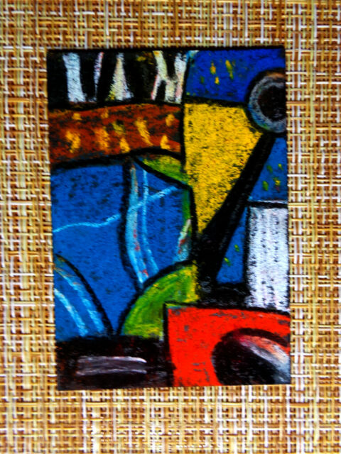 ACEO original pastel painting outsider folk art brut #010173 abstract surreal