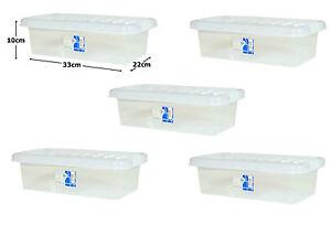 5 X 6l transparente de plástico pequeño de almacenamiento de Zapatos Craft Supplies Herramientas Caja Con Tapas