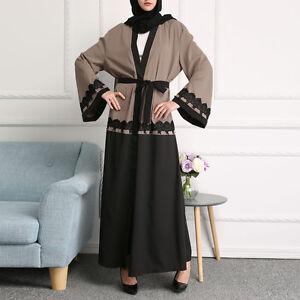 abaya-caftan-Jilbab-Cardigan-Islamique-Musulman-Dubai-Maxi-Long-Robe-CEINTURE