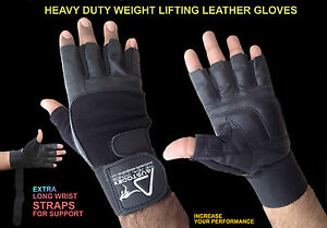 AUSTODEX-LEATHER-GYM-GLOVES-FITNESS-WEIGHT-LIFTING-TRAINING-BODYBUILDING-STRAPS