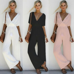 e24d29799f Women V Neck Jumpsuit Short Sleeve Playsuit Party Wide Leg Long ...