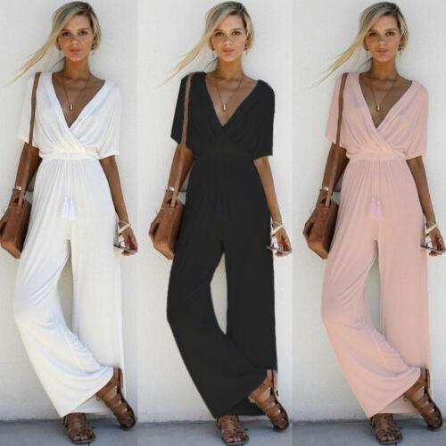recognized brands good texture great quality Women V Neck Jumpsuit Short Sleeve Playsuit Party Wide Leg ...