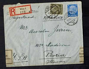 1938-Vienna-Germany-Currency-Censored-Cover-to-Peoria-Illinois-USA