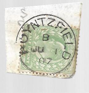 KING-EDWARD-VII-VERY-RARE-Poyntzfield-CANCEL-ON-d-GREEN-1907-REF-1500