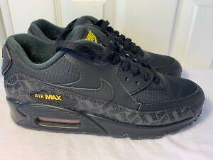 Details about Men's Nike Air Max 90 Essential Casual Shoes BlackBlackAmarillo BQ4685 001