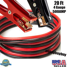20 Ft 4 Gauge Heavy Duty Power Booster Cable Emergency Car Battery Jumper US TO