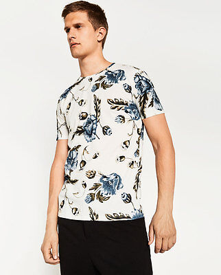 Brand new with tags Zara Man retro floral print off white tshirt. Extra Large.