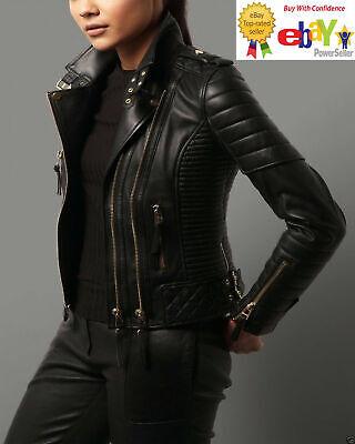 Womens Leather Jacket Real Lambskin Motorcycle Designer Slim fit Biker Jacket