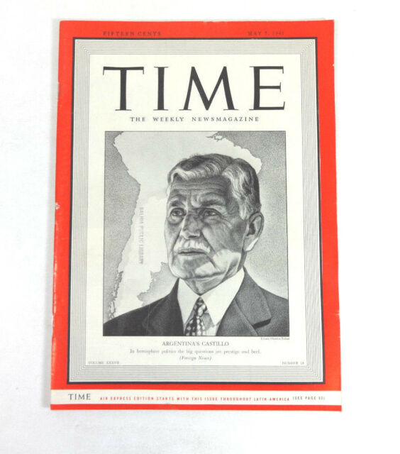 TIME Magazine Argentina's Castillo (May 5, 1941) Foreign News 1940s Ads
