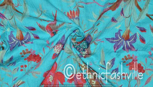 Hand Block Sanganer Print 3 Yard Turquoise Bird Sewing Material Craft
