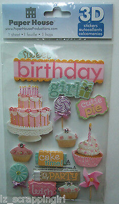 ~SWEET BIRTHDAY GIRL~ Paper House Productions 3D Stickers; happy, party, cake