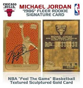 MICHAEL-JORDAN-1996-Fleer-ROOKIE-Feel-The-Game-Signature-Gold-039-86-Card-BOGO