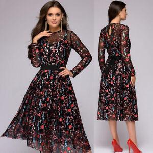 20e97d01478d4 Women's Floral Print Dress A-line Boho Sheer Mesh Cocktail Long ...