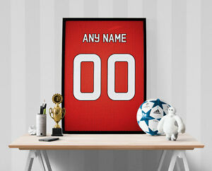 Manchester United Jersey Poster - Personalized Name & Number FREE US SHIPPING