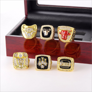 a339d347b798a9 CHICAGO BULLS MICHAEL JORDAN NBA CHAMPIONSHIP 6 Ring Set w  Display ...