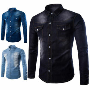 c6b05850b9e Fashion Men s Casual Slim Fit Stylish Wash Denim Long Sleeves Jeans ...