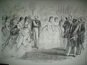 TUILERIES-RECEPTION-EMPEREUR-GABON-LIBREVILLE-BELGIQUE-ROI-LEOPOLD-GRAVURES-1870