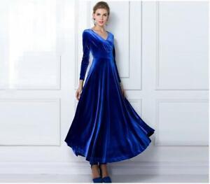 Samt-Maxikleid-Business-Kleid-Abendkleid-Ballkleid-Langarm-viele-Farben-BC780