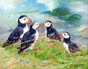 PUFFIN-SEA-BIRD-ORIGINAL-OIL-PAINTING-CANVAS-C-SANDRA-COEN-ARTIST