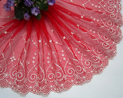 """7.5""""*1yard Heart Shape Embroidered Tulle Lace Trim Sewing/DIY ~Red~White"""