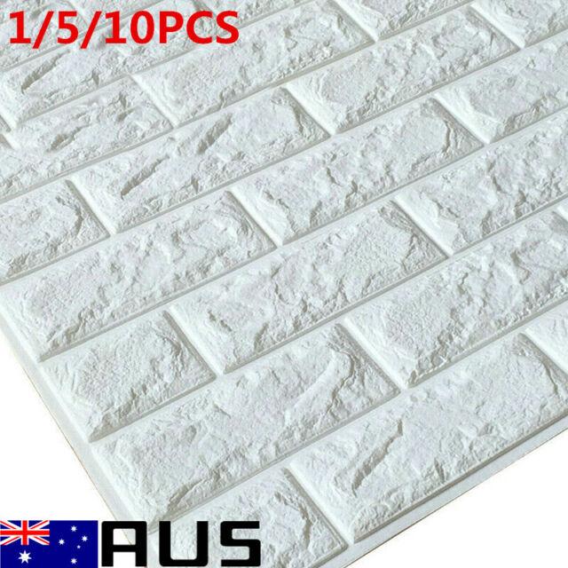 10pcs 3D Tile Brick Wall Stickers Self Adhesive Waterproof Foam Panel 60*30cm AU