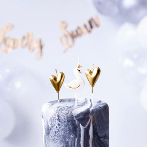 Swan et cœur Bougies pack de 6 Fête D/'Anniversaire