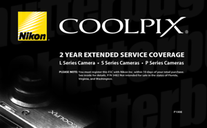 Extended Service Contract | Nikon Coolpix 2 Year Extended Service Contract For L S P Series