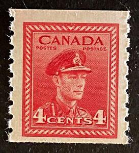 Canadian Stamp, Scott #267 4c King George VI Coil stamp 1943 VF M/NH. Fresh
