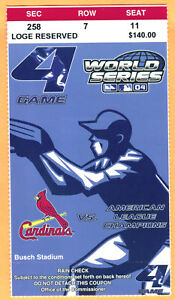 CLINCHER/SWEEP! 2004 WORLD SERIES GM #4 RED SOX/CARDINALS TICKET STUB