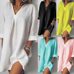 Women-Trendy-Cotton-Linen-V-Neck-Solid-Long-Sleeve-Casual-Loose-Short-Mini-Dress