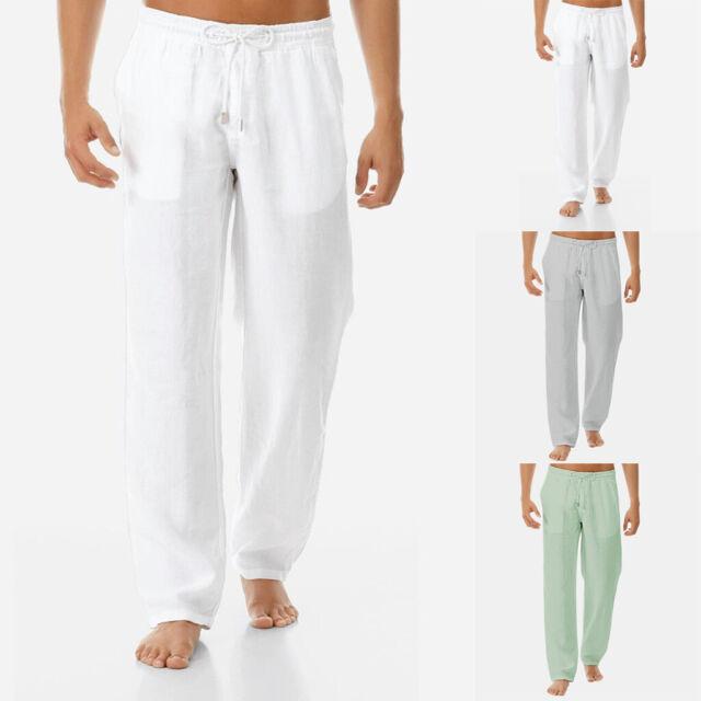 Herren Leichte Leinen Optik Hose Pant Sommer Lockere Stoffhose Herrenhose