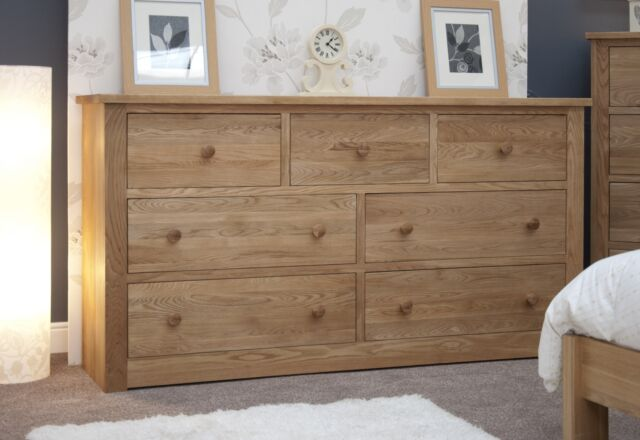 Vermont Solid Oak Bedroom Furniture Deep Wide Chest of Drawers | eBay