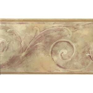 Formal-Matt-Gold-with-Burgundy-Scroll-Wallpaper-Border-FT75795