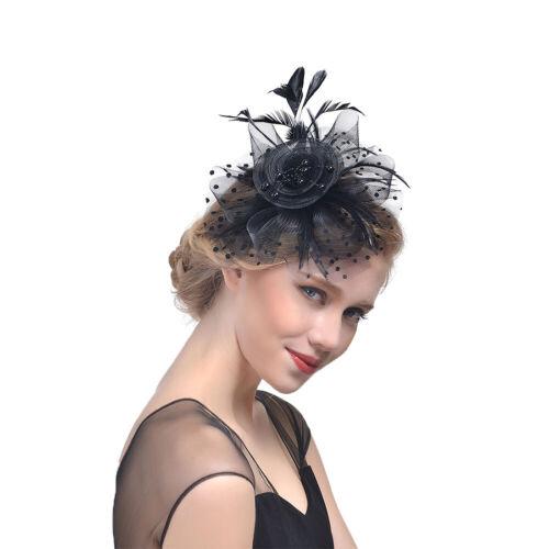 1x Femme Nuptial Serre Tête Fleur Pince Cheveux Plume Barrette Broche Mariage NF