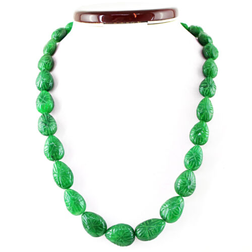 Details about  /Single Strand Natural Ruby Emerald Sapphire Pear Shape Carved Beads Necklace