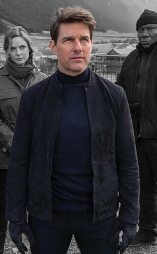 Mission Impossible 6 Fallout Stylish Tom Cruise Biker Suede Leather Jacket SALE