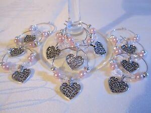 Wedding 10 Filigree Heart Wine Glass Charms Birthday Hen Party