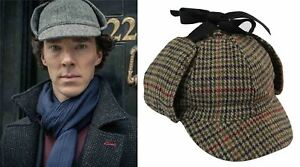 Sherlock Holmes Deerstalker Ear Flaps Herringbone Tweed Check Wool Blend Hat Cap