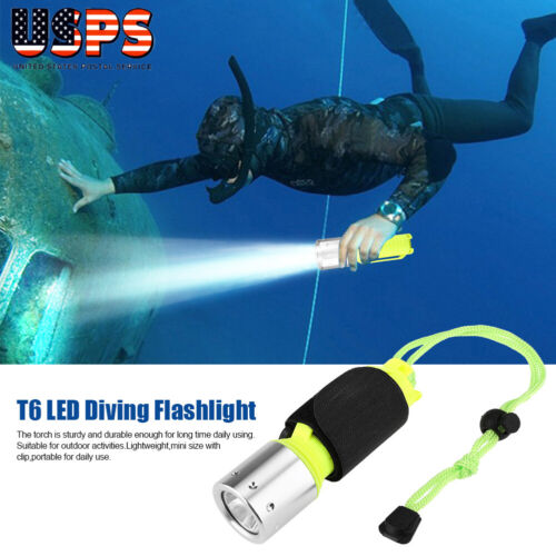 Underwater 50-60m LED Flashlight Torch XM-L T6 3 Modes Lamp 18650//AAA Battery
