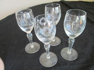 4-Vintage-twisted-spiral-stem-cordial-Aperitif-Goblet-Glasses