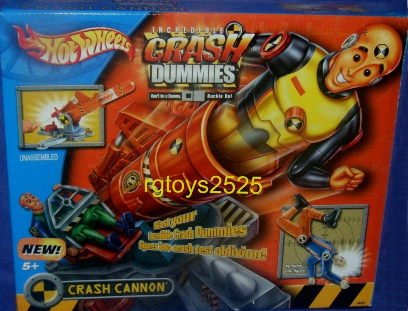 Hot Wheels IncROTible Crash Dummies CRASH CANNON New includes 5