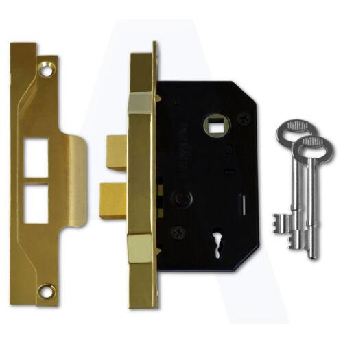 "Union 2242 2 Lever Sashlock 64mm//2.5/"" Mortice Door Lock Electro Brass"