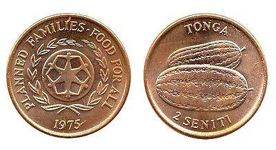 Tonga 1975 1 /& 2 Seniti 2 Uncirculated Coin Set KM42,43