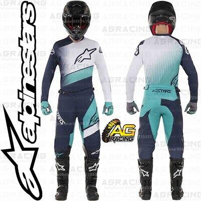 2019 Alpinestars Racer Supermatic Navy Teal White Race Motocross Jersey Adults