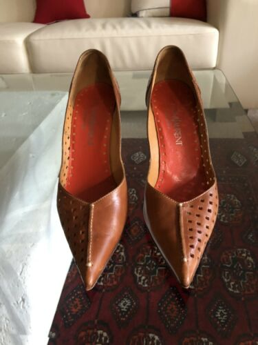 YVES SAINT LAURENT BROWN LEATHER HIGH HEELS SHOES