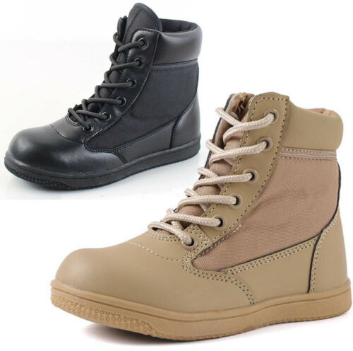 Kids Boys Girls Combat Tactical Desert Boots Military Army Hiking Biker Shoes