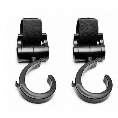 2x Black Clip Hooks for STOKKE strollers Hang Shopping Diaper Bag Purse Pair New